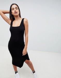 Облегающее платье миди с квадратным вырезом ASOS DESIGN - Черный