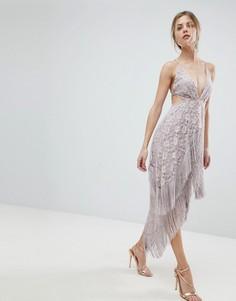 Кружевное платье миди с лямками на спине и бахромой ASOS - Фиолетовый