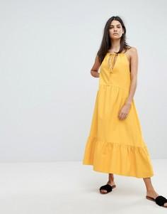 Платье миди с завязкой на спине Mih Jeans - Желтый