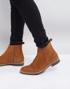 Светло-коричневые замшевые ботинки челси Zign - Бежевый