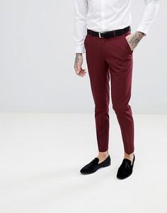Темно-бордовые зауженные брюки под смокинг ASOS - Красный