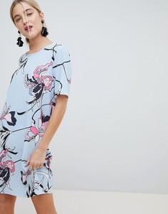Свободное платье с цветочным принтом mByM - Мульти