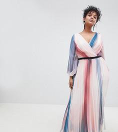 Платье макси в контрастную полоску с глубоким вырезом Little Mistress Plus - Мульти