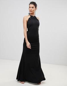 Платье макси с завязкой на шее и цветочной отделкой City Goddess - Черный