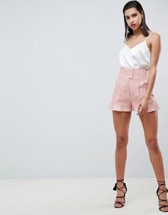 Строгие льняные шорты в корсетном стиле Forever New - Розовый