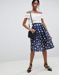 Плиссированная юбка для выпускного в горошек Liquorish - Синий