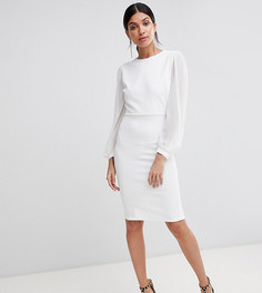 Облегающее платье с открытой спиной и разрезами на рукавах John Zack Tall - Белый