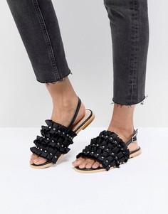 Черные сандалии с рюшами Lost Ink - Черный
