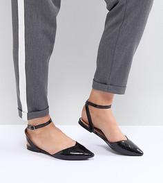 Черные туфли на плоской подошве для широкой стопы Lost Ink - Черный