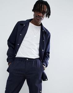 Темно-синяя спортивная куртка в полоску ASOS DESIGN - Темно-синий