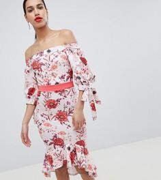 Платье миди со спущенными плечами и завязками на рукавах True Violet - Мульти