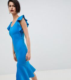 Платье-футляр миди с оборками и открытой спиной True Violet - Синий