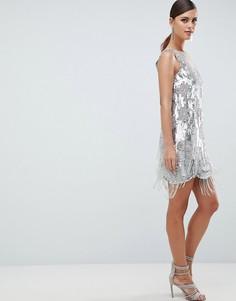 Платье мини с пайетками и бахромой ASOS EDITION - Бежевый