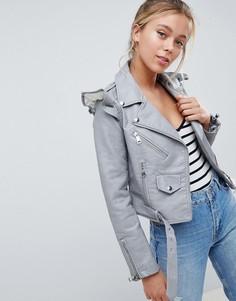 Куртка из искусственной кожи с оборками Parisian - Серый