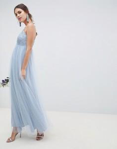 Платье макси на бретельках с кружевом и сеткой добби ASOS DESIGN - Синий