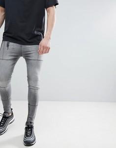 Суженные книзу джинсы со вставками Religion - Серый