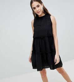 Платье-трапеция без рукавов с вышивкой ришелье ASOS Tall ULTIMATE - Черный