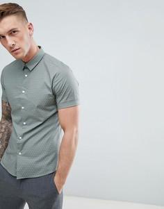 Обтягивающая рубашка цвета хаки в горошек New Look - Зеленый
