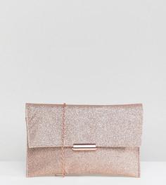 Клатч цвета розового золота с блестками Accessorize - Золотой