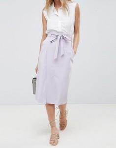 Строгая юбка-карандаш с поясом оби ASOS DESIGN - Фиолетовый