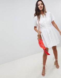 Хлопковое платье-рубашка мини в стиле casual от ASOS DESIGN - Белый