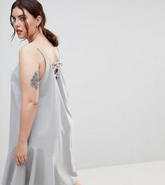 Сарафан миди со шнуровкой на спине ASOS DESIGN Curve - Синий