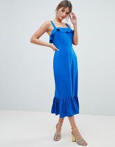 Платье миди с квадратным вырезом и оборкой ASOS DESIGN - Синий