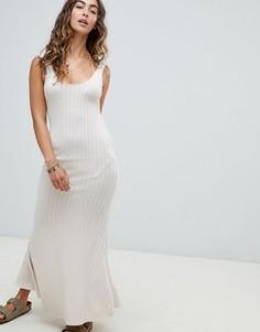 Пляжное трикотажное платье макси Somedays Lovin Burning Palms - Кремовый