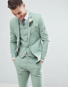 Зеленый льняной супероблегающий пиджак ASOS DESIGN Wedding - Зеленый