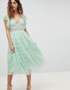 Кружевное платье миди для выпускного с рукавами-оборками ASOS DESIGN - Розовый