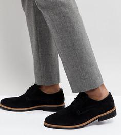 Черные замшевые туфли дерби для широкой стопы Silver Street - Черный