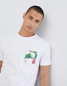 Футболка с цветочным принтом и карманом на груди Threadbare - Белый