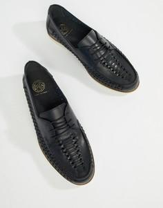 Темно-синие кожаные туфли с плетеной отделкой и шнуровкой KG By Kurt Geiger - Синий