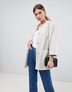 Пальто-кимоно из ткани с добавлением шерсти с укороченными рукавами Helene Berman - Кремовый
