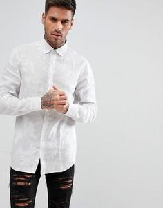 Белая рубашка с пальмовым принтом Armani Exchange - Белый