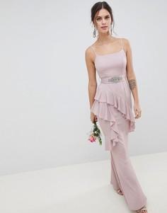 Платье макси с поясом ASOS DESIGN - Розовый