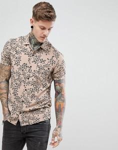 Бежевая рубашка с отложным воротником и абстрактным принтом Religion - Светло-бежевый