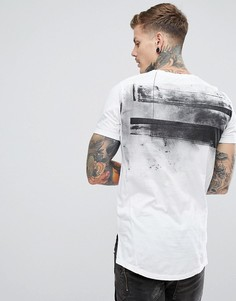 Белая удлиненная футболка с принтом на спине Religion - Белый
