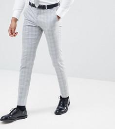 Серые зауженные брюки в клетку Selected Homme TALL - Серый