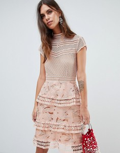 Платье с ярусной кружевной юбкой Y.A.S - Розовый