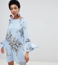 Платье А-силуэта с цветочным принтом и оборками Vero Moda Tall - Синий