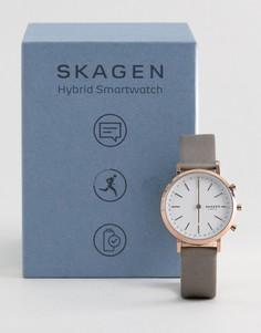 Серые смарт-часы с кожаным ремешком Skagen Connected SKT1406 34 мм - Серый