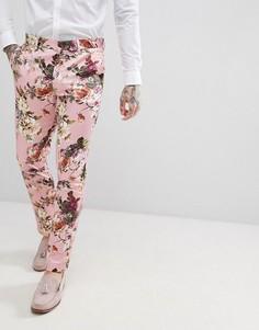 Розовые брюки скинни с цветочным принтом ASOS EDITION Wedding - Розовый