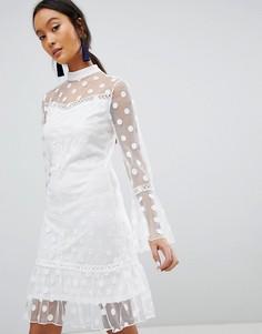 Сетчатое платье в горошек Parisian - Белый