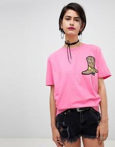 Свободная футболка с нашивкой Ragyard - Розовый