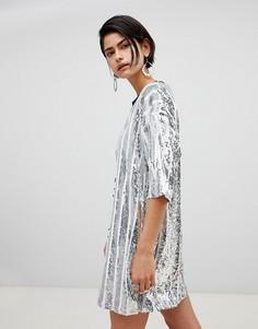 Платье-футболка в полоску с отделкой пайетками Ragyard - Серебряный