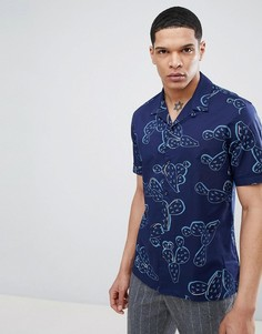 Синяя рубашка с короткими рукавами, отложным воротником и принтом Antony Morato - Синий