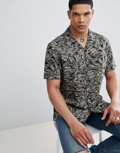 Черная рубашка с короткими рукавами, отложным воротником и принтом Antony Morato - Зеленый
