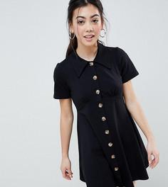 Платье-рубашка с черепаховыми пуговицами ASOS DESIGN Petite - Черный