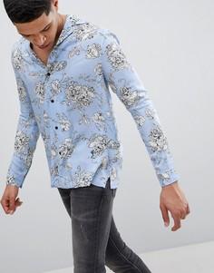 Голубая рубашка с длинными рукавами, отложным воротником и принтом Religion - Синий